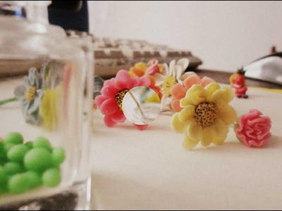☼Polymer Clay Flowers and Empty Nail Polish Bottle☼
