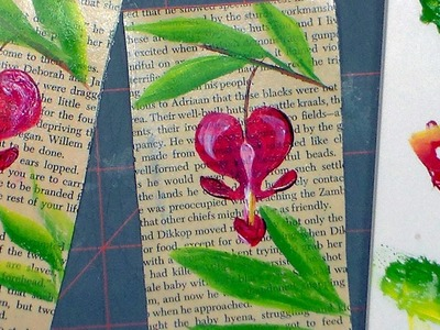 Bleeding Heart on an old Book Page (acrylic painting tutorial)