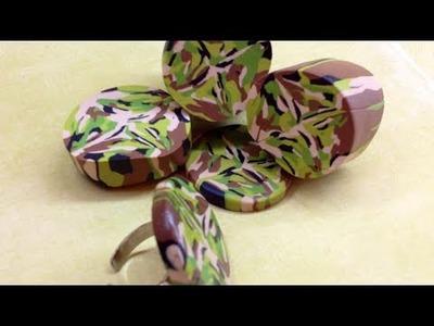 Camouflage cane.cana camuflagem- polymer clay.Fimo tutorial