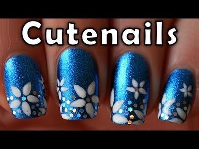 Short nails tutorial : cute flowers nail art design