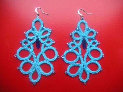 15' TUTORIAL ORECCHINI CON PERLINE E PENDENTE CHIACCHIERINO AD AGO EARRINGS NEEDLE TATTING