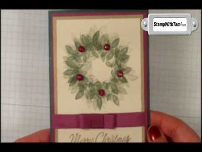 Altered Holly Berry Wreath card featuring Stampin Up products