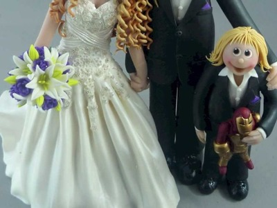 Bride, groom & child wedding cake topper, 200+ photos by Sweet Frost Tops