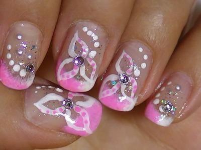 Delicate White Flower ,Pink  Nail Art Design video tutorial