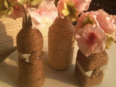 ☼ D.I.Y. Yarn wrapped bottles (bottiglie decorate fai da te) ☼