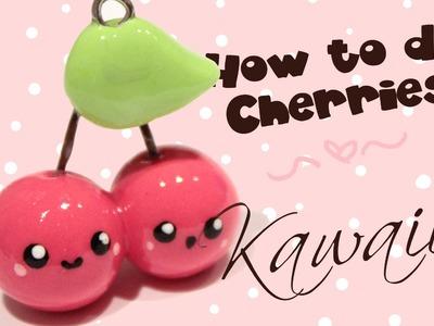 ◕‿‿◕ Cherries! Kawaii Friday 70 (Tutorial in Polymer Clay)
