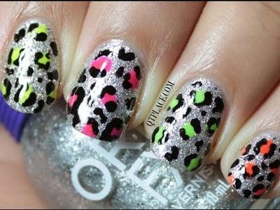 Glitter and neon leopard nail art