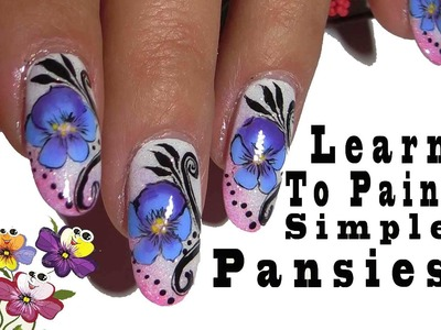 Pansies Nail Art Tutorial ,Simple One Stroke Technique
