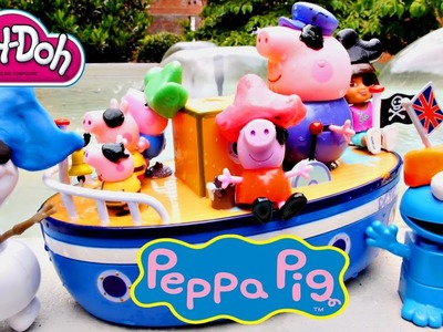 PEPPA PIG Dora The Explorer + Frozen Olaf Play Doh Grandpa Pig's Muddy Puddle Bathtime Boat Toys