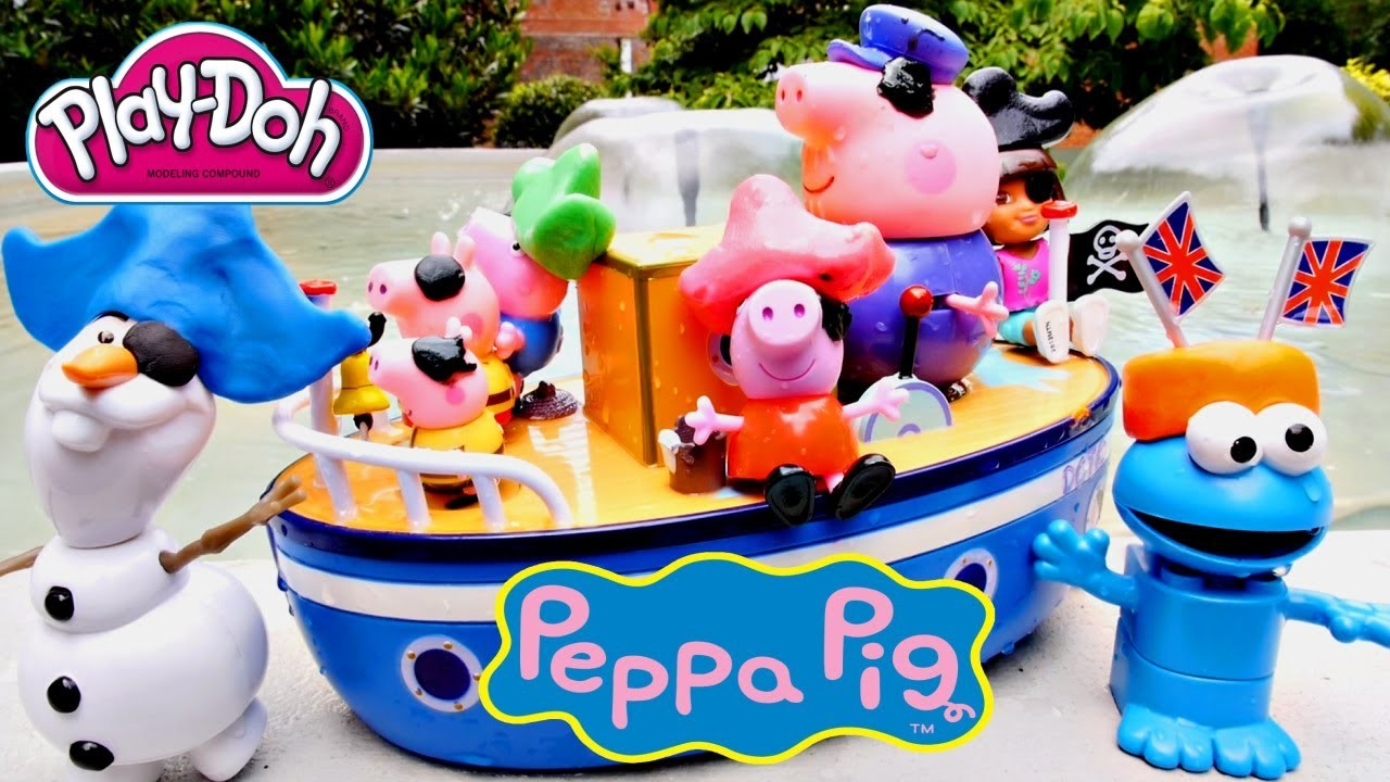 PEPPA PIG Dora The Explorer + Frozen Olaf Play Doh Grandpa Pig's Muddy Puddle Bathtime Boat Toys