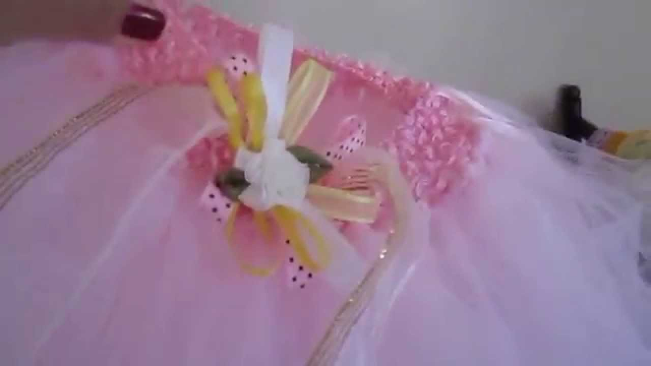 PINK TUTU DRESS DESIGN WITH BOW AND FLOWERS