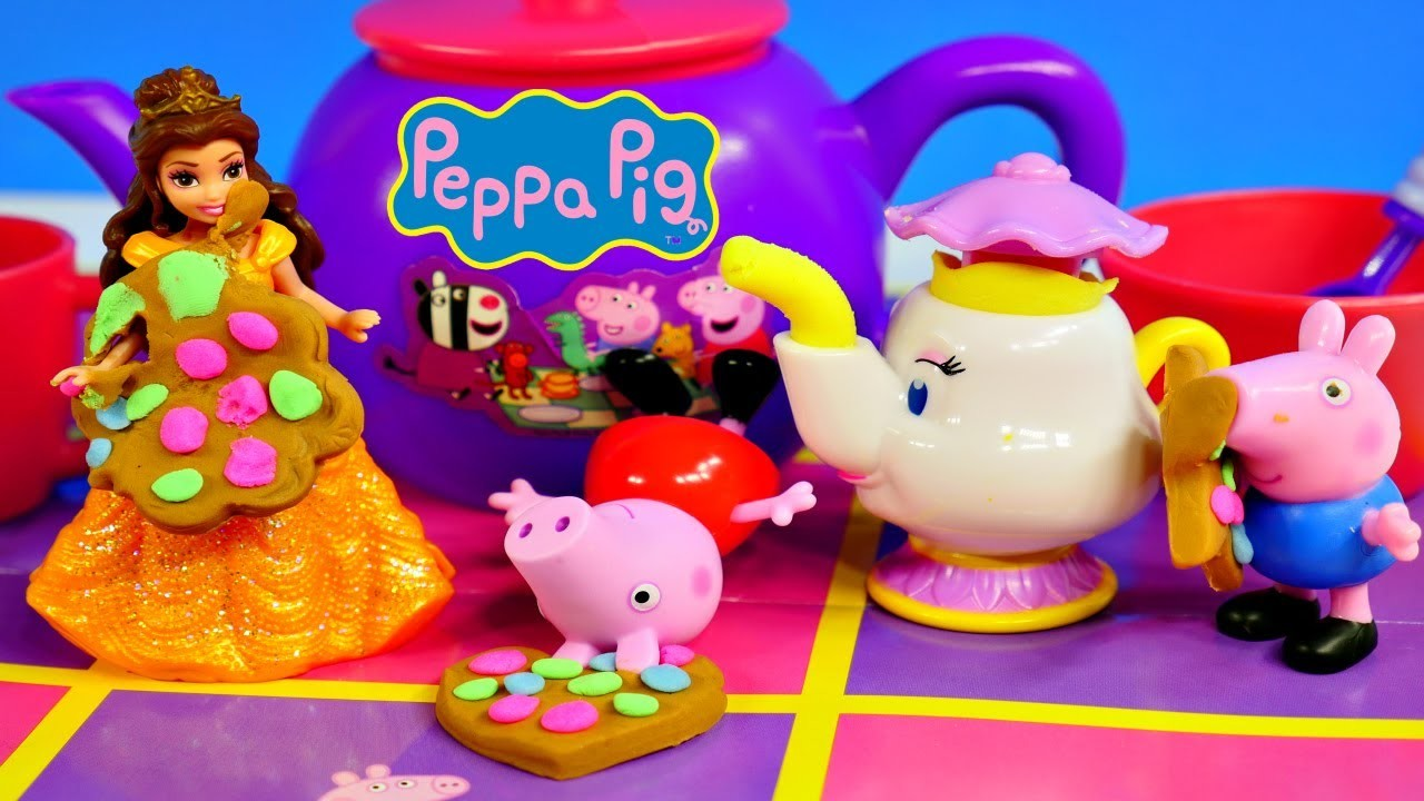 Play Doh Peppa Pig's 13 Piece Tea Set in Hamper George Pig and Princess Belle Playdough Deserts