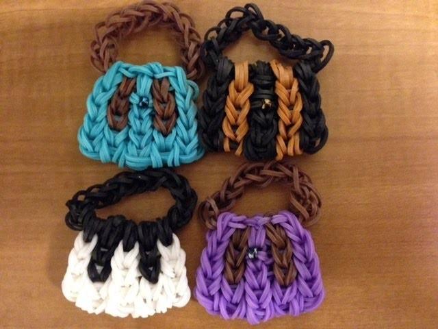 Rainbow loom Mini Handbag. Purse Charm On 5 pins