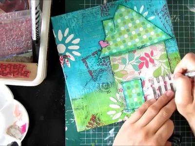 A little house.  mixed media canvas