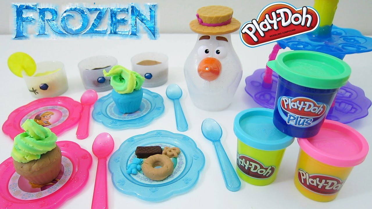 Disney Frozen Olaf's Summer Tea Playset with Play-Doh Cupcake Tower Desserts!