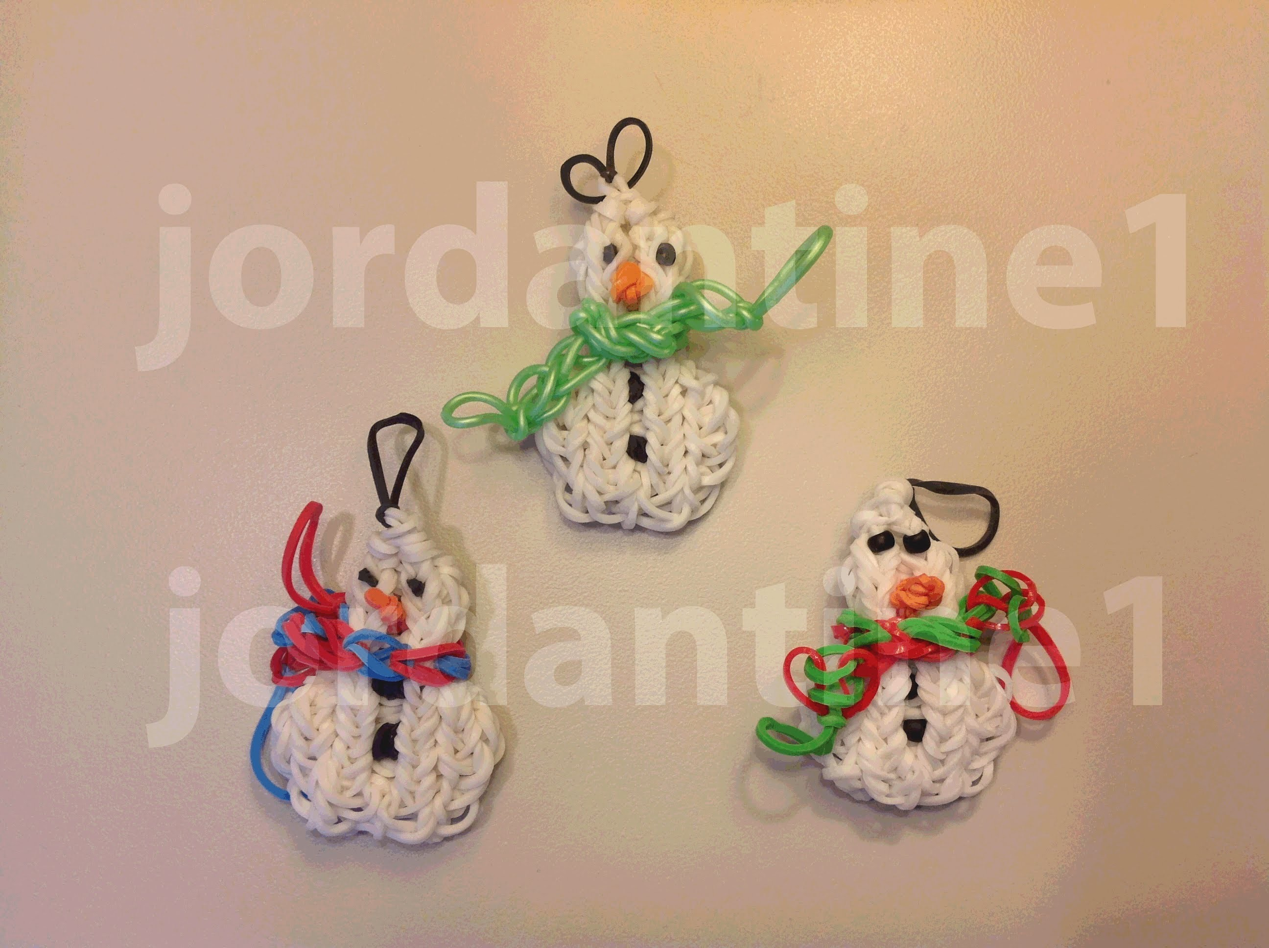 How To Make A Rainbow Loom Small Snowman Charm or Ornament With Two Snowballs