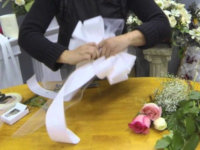 How to Make Pew Bows with Tulle,Ribbon and Fresh Flowers