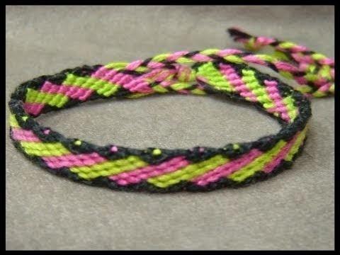► Friendship Bracelet Tutorial - Beginner - Slanted Brick Stitches