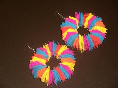 How to make fun foam hoop earrings.