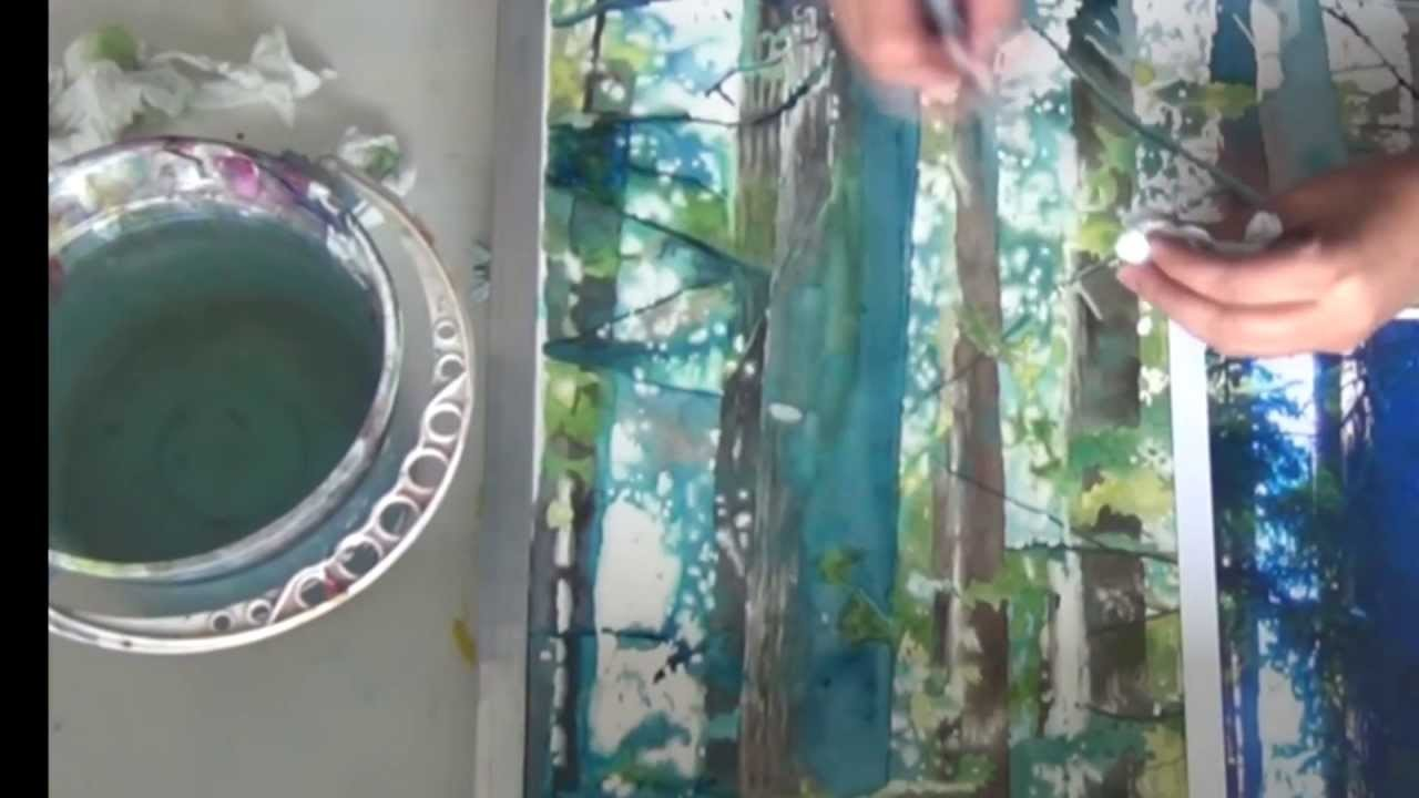 How to paint a forest with watercolor using wet in wet painting and splattering technique