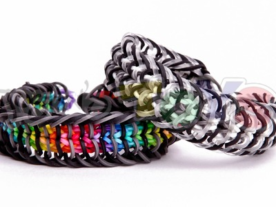 Inverse cage - rainbow loom bracelet tutorial - loom bands