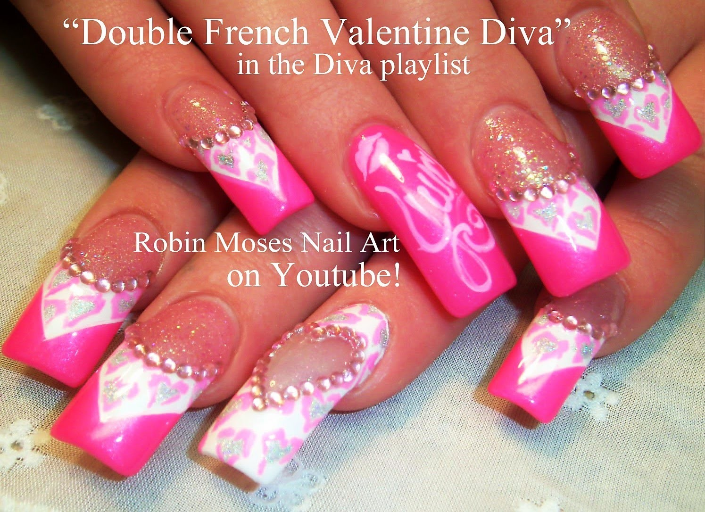 Nail Art Tutorial | Valentine's Day Nails | Neon Pink Diamond Diva Nail Design