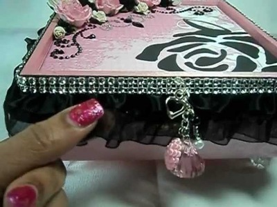 Pink and Black Altered Jewelry Box