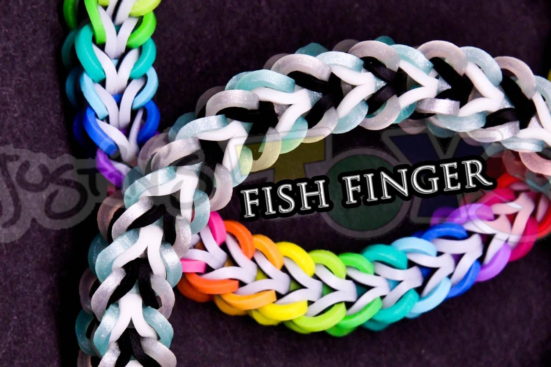How to Make a Fish Finger #justinstoyshybrid Rainbow Loom Bracelet Tutorial