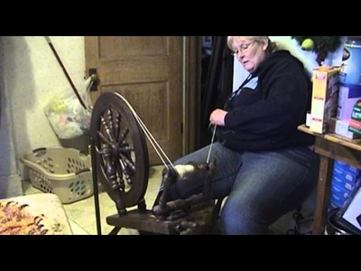Making Yarn on a Spinning Wheel