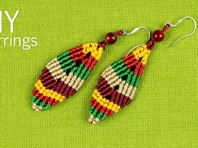 Multicolored Macramé Leaf Earrings - Tutorial