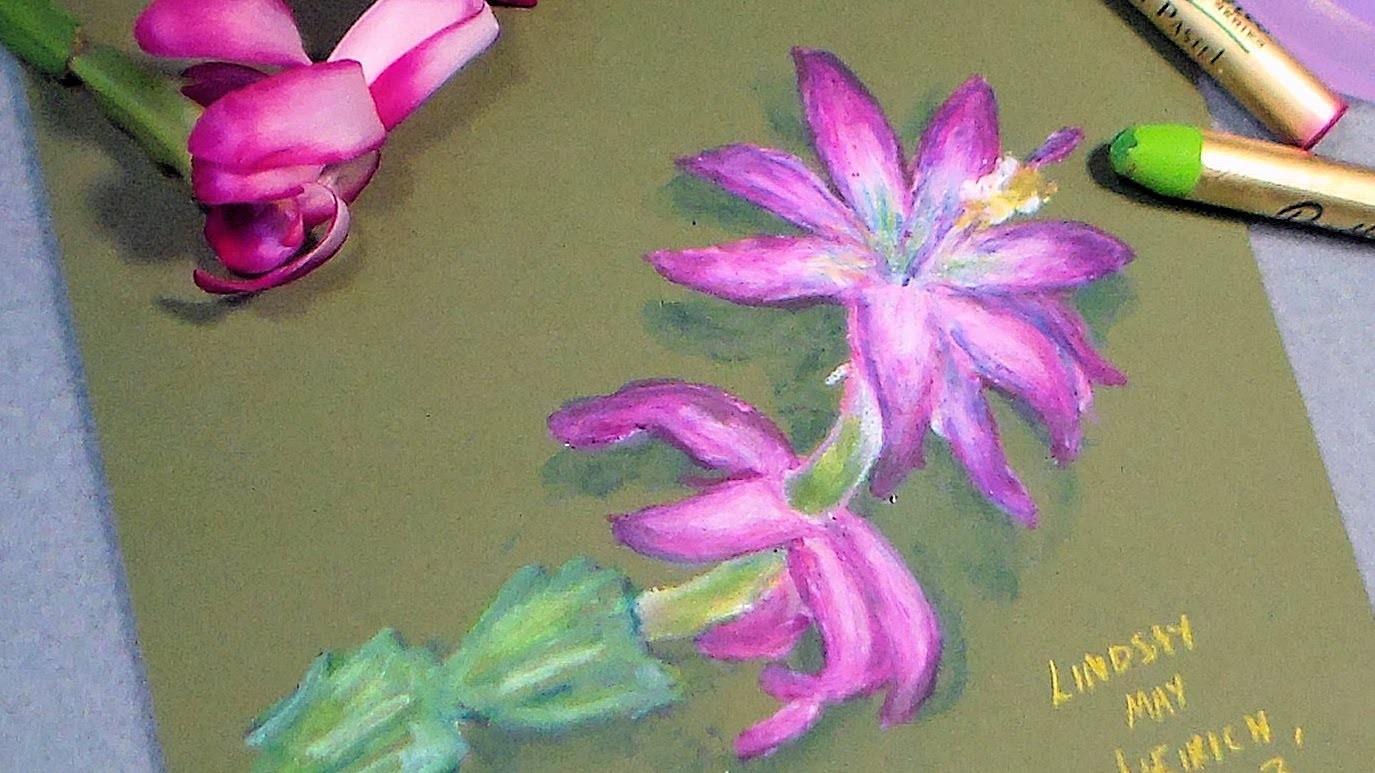 Oil pastel cactus flower