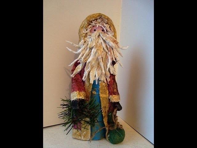 Papier Mache QUAINT SANTA FIGURE, Christmas figure, Father Christmas, St. Nick,
