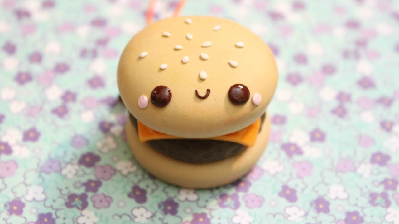 Polymer Clay Cheeseburger Mirror Charm Tutorial