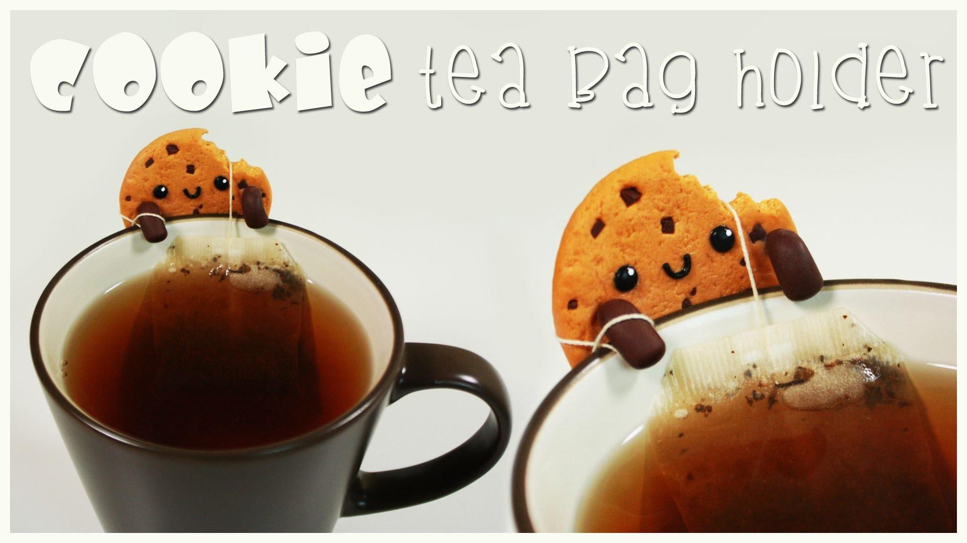 Polymer clay Kawaii Cookie TEA BAG HOLDER|  tutorial