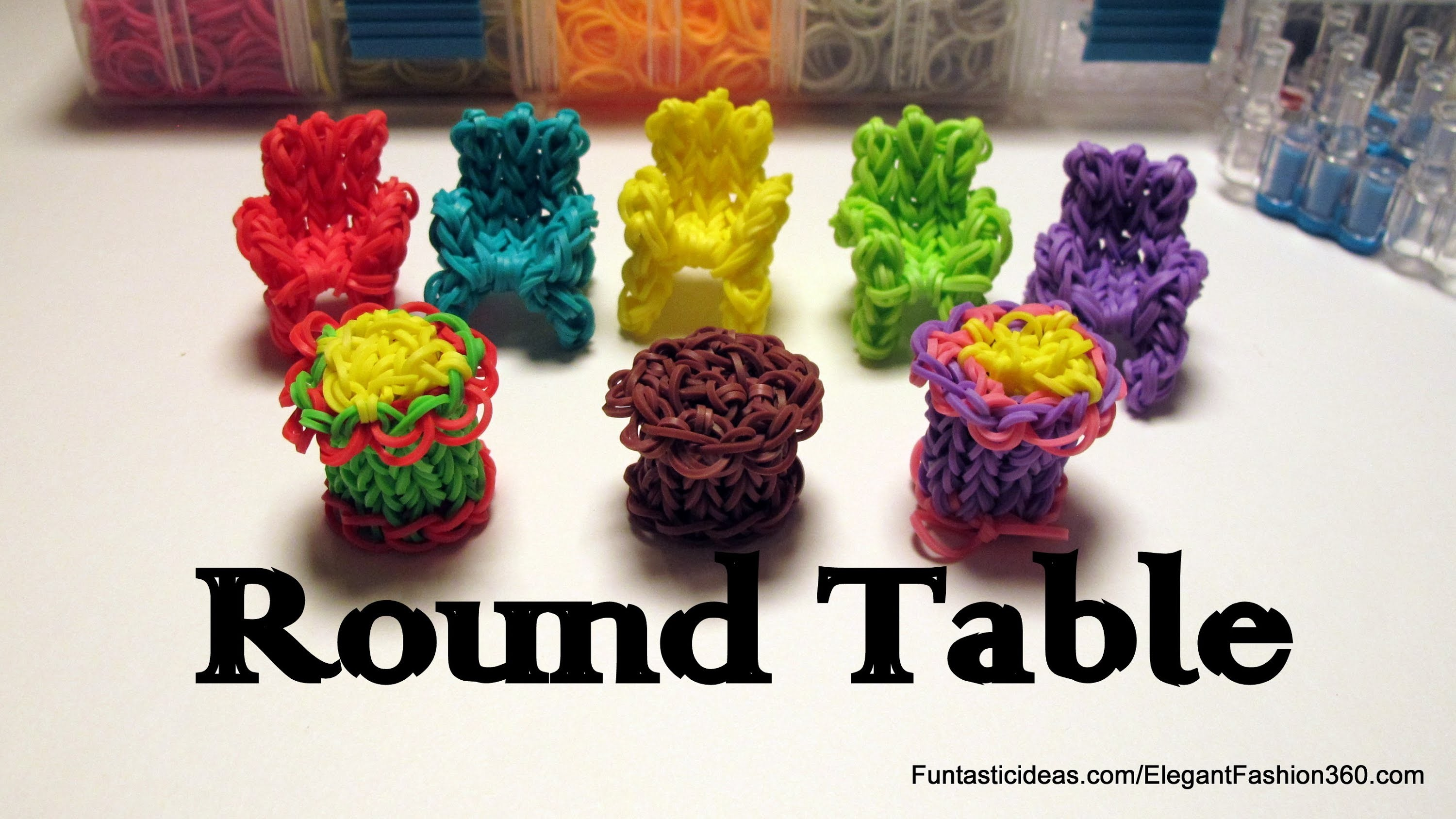 Rainbow Loom 3D Round Table Charm - How to - Home Series