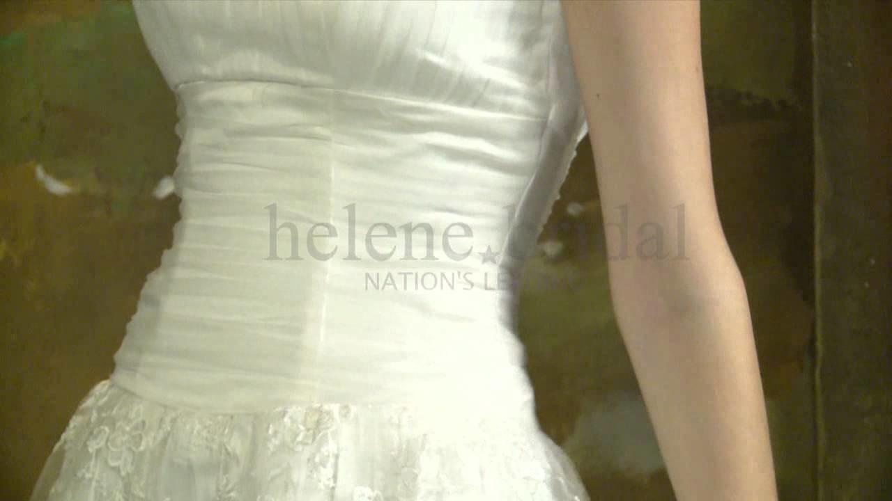 A-Line Princess Strapless Satin Tulle Wedding Dress - Style WD6223 - HeleneBridal.com
