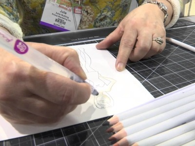 CHA2015 - Julie Nutting Demos Prima Watercolor Pencils with Her Paper Doll Stamps
