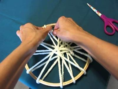 Circle Loom Weaving on an Embroidery Hoop