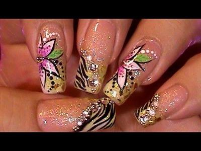 Glitzy Animal Print Zebra Nail Art Design Tutorial Working on Dominant Hand