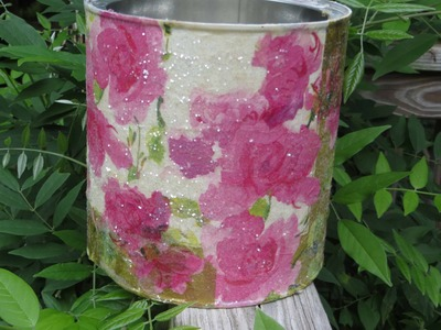 How to Decoupage a Coffee Can Recycle Cottage Chic Metal
