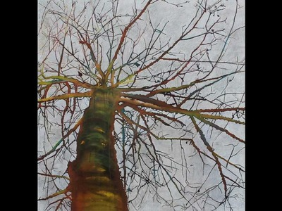 How to paint a tree with mixed mediaon canvas using Acrylics, pastels, ink and pencil