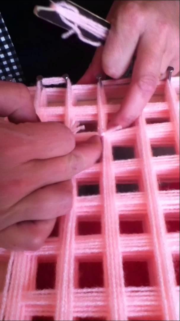 Loom board pom pom blanket part 3