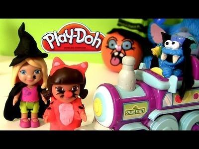 Play Doh Dora the Explorer Cookie Monster Riding Train to Sesame Street Playdough Review