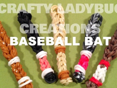 Rainbow Loom Bands BASEBALL BAT CHARM How to Make Tutorial by Crafty Ladybug