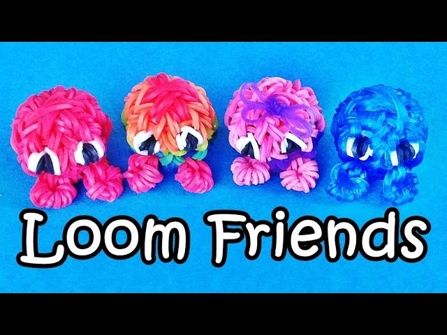 "Rainbow Loom Charms: 3D Fuzzies.  ""Loom Friends"" Loom Bands Fun Crazy Loom How To Make"