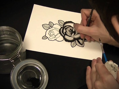 Traditional Rose Tattoo Flash Speed Painting