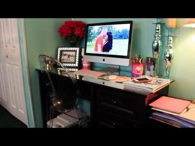 Desk Tour!! + DIY Mirrored Desk