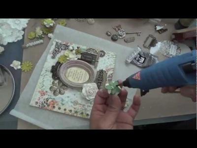 Graphic 45: Secret Garden Mini Album - Mixed Media cover tutorial