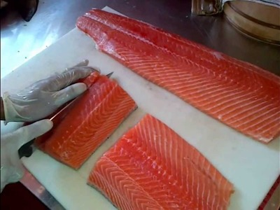 How to make Salmon Sashimi - How to cut Salmon
