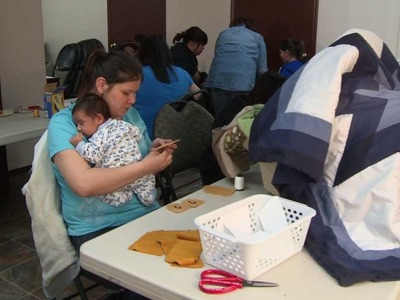 Moccasin Making with Sagkeeng Child and Family Services - 2013